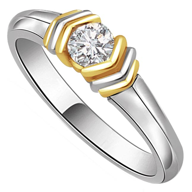 0.23 ct Diamond Two Tone Solitaire rings