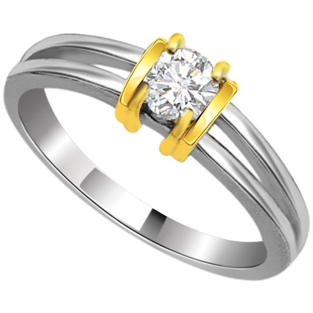 1.00 ct Diamond Two Tone Solitaire rings SDR408