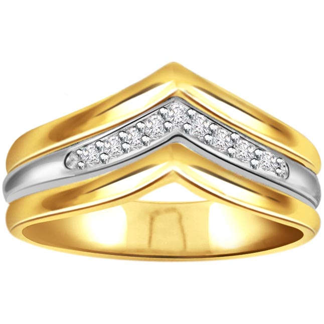 0.16ct Diamond Two Tone rings -White Yellow Gold rings