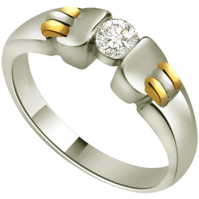 0.10ct Diamond Two -Tone Solitaire rings