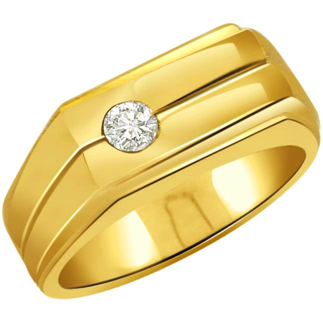 0.10ct Diamond 18kt Gold Men's rings -Solitaire rings