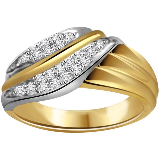 0.25ct Diamond Two -Tone 18kt Gold rings -White Yellow Gold rings