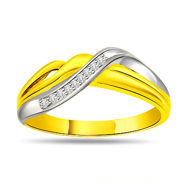 0.18ct Diamond Two -Tone 18kt Gold rings -White Yellow Gold rings