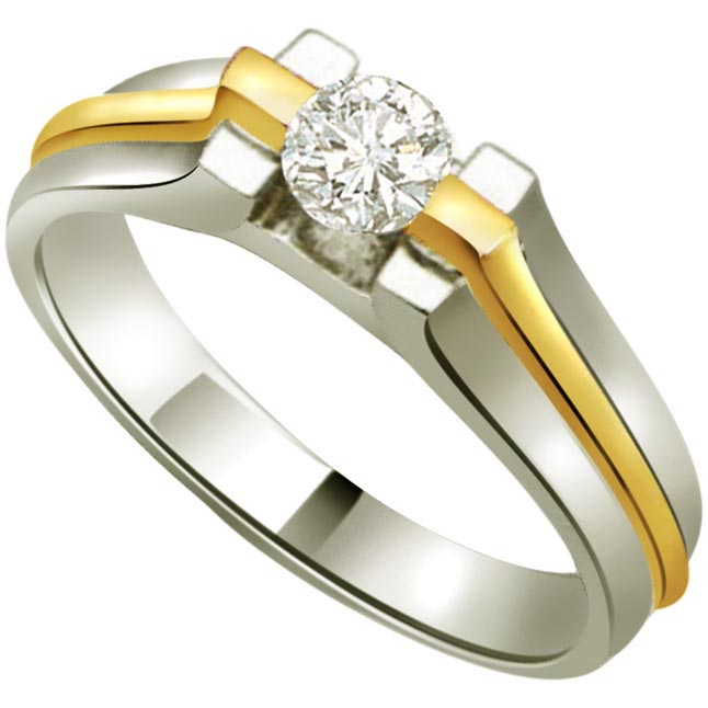 0.10ct Diamond Solitaire Two Tone 18kt Gold rings