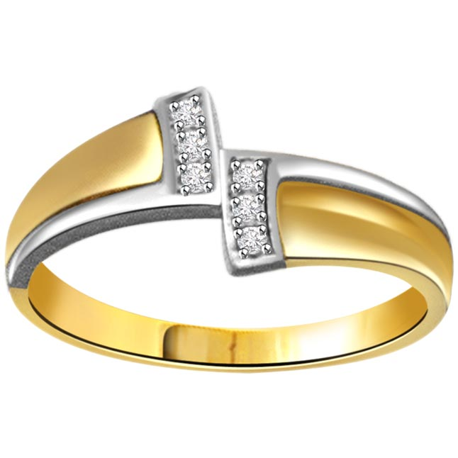 0.12ct Diamond Two -Tone 18kt Gold rings -White Yellow Gold rings
