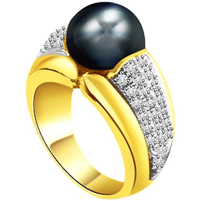 1.00ct Diamond Set In Black Tahitian Pearl rings -White Yellow Gold rings