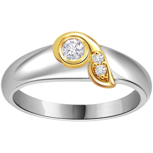 0.16ct Diamond Two Tone 18kt Gold rings -White Yellow Gold rings