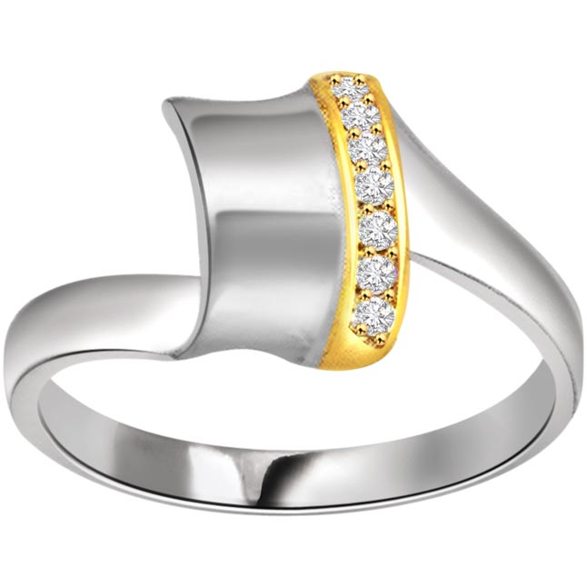 0.14ct Diamond Two Tone 18kt Gold rings -White Yellow Gold rings