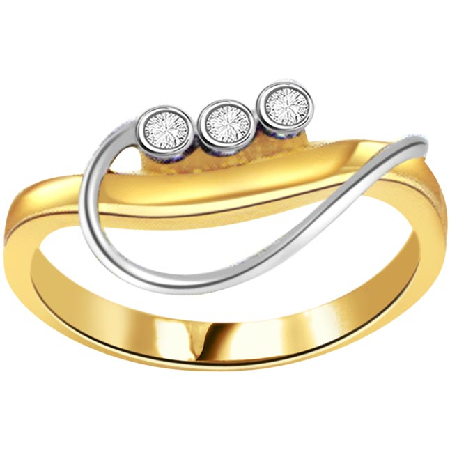 0.21ct Diamond Two Tone 18kt Gold rings -White Yellow Gold rings