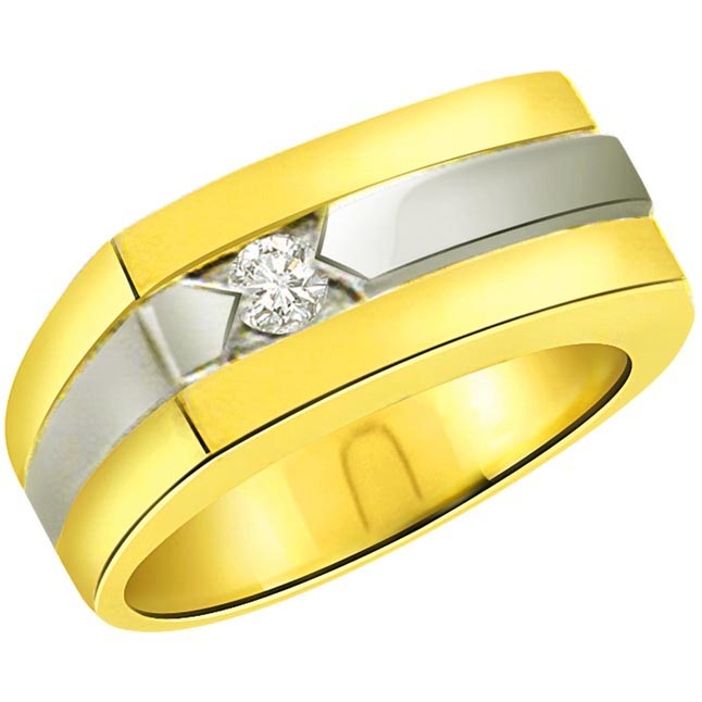 0.10ct Diamond Fine Two -Tone 18kt Gold rings