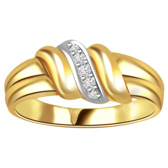 Two -Tone Diamond Gold rings SDR459 -White Yellow Gold rings