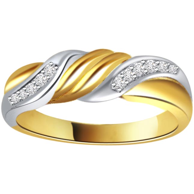 Two -Tone Diamond Gold rings SDR460 -White Yellow Gold rings