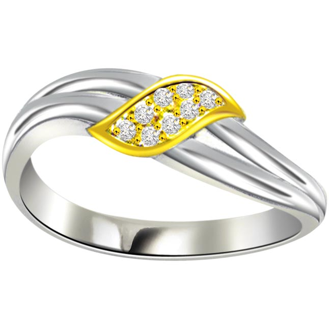 Two -Tone Diamond Gold rings SDR465 -White Yellow Gold rings