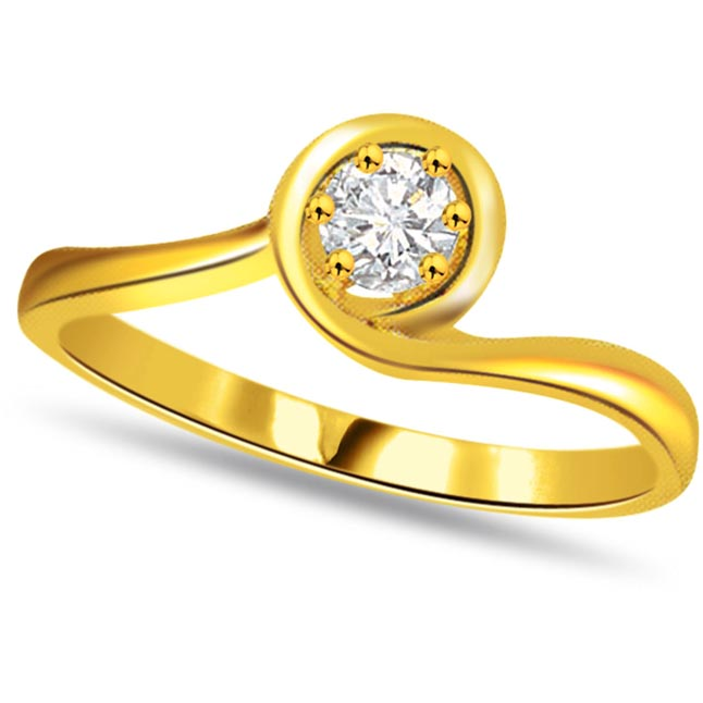 Diamond Solitaire Gold rings SDR475 -18k Engagement rings
