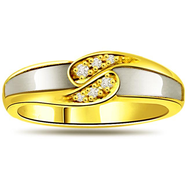 Two -Tone Diamond Gold rings SDR478 -White Yellow Gold rings