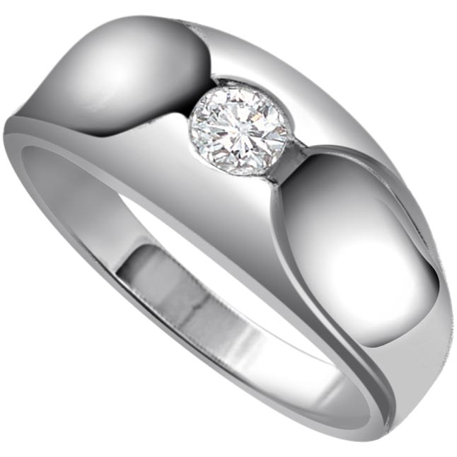 Diamond Solitaire Gold rings SDR484 -White Gold Big Sol