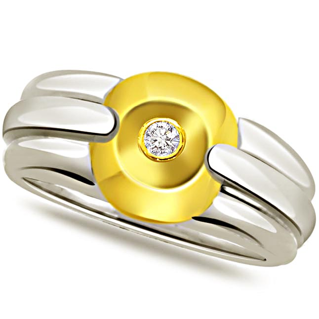 Diamond Solitaire Gold rings SDR490 -Two Tone Solitaire