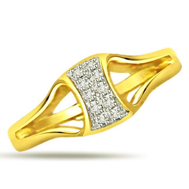 Trendy Diamond 18kt rings SDR496 -White Yellow Gold rings