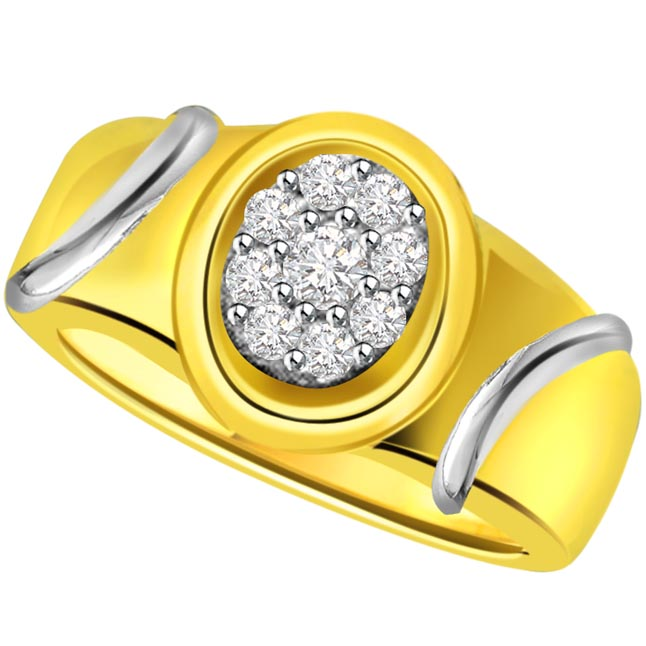 Two -Tone Diamond Gold rings SDR499 -White Yellow Gold rings