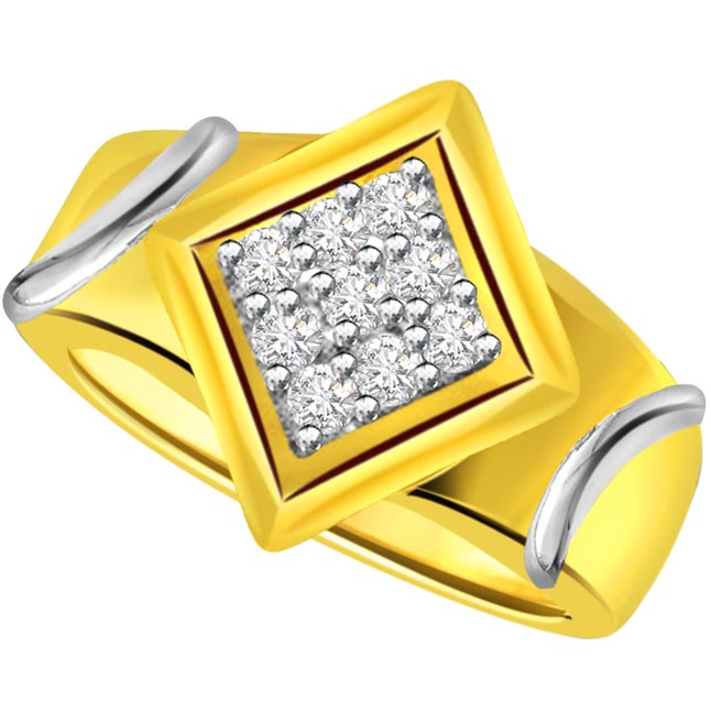 Two -Tone Diamond Gold rings SDR500 -White Yellow Gold rings