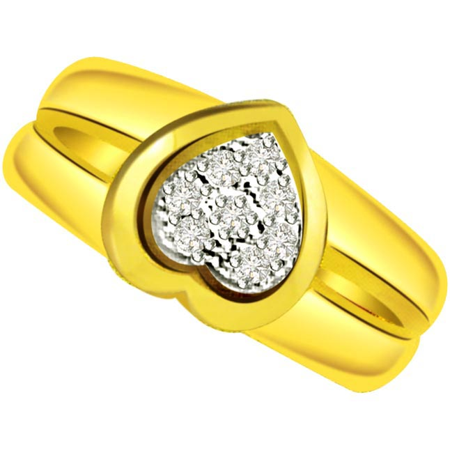Diamond Heart Shape Gold rings SDR504