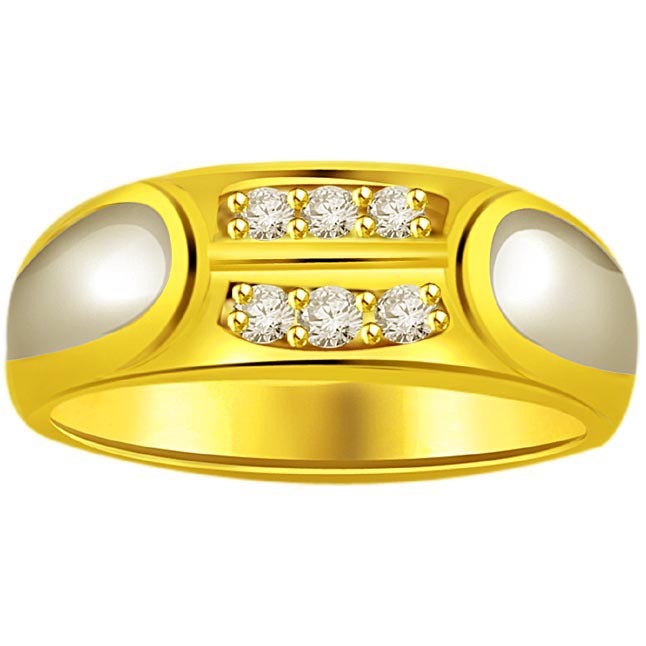 Two -Tone Diamond Gold rings SDR511 -White Yellow Gold rings