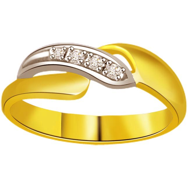 Two -Tone Diamond Gold rings SDR513 -White Yellow Gold rings