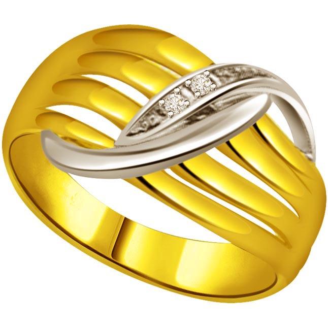 Two -Tone Diamond Gold rings SDR518 -White Yellow Gold rings