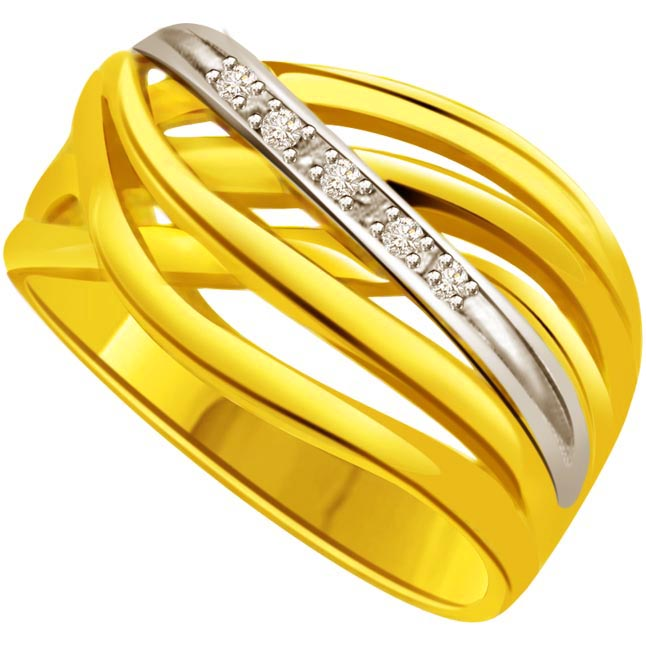 Two -Tone Diamond Gold rings SDR519 -White Yellow Gold rings
