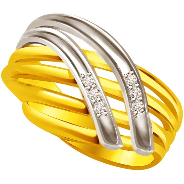 Two -Tone Diamond Gold rings SDR520 -White Yellow Gold rings