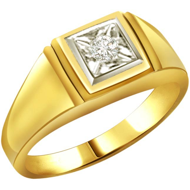 Diamond 18k Gold Men's rings SDR532 -Solitaire rings
