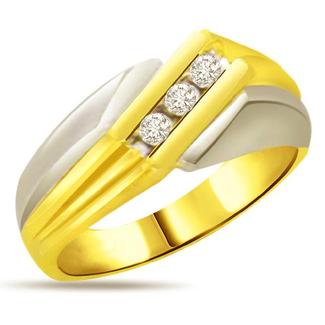 Two -Tone Diamond Gold rings SDR534 -3 Diamond rings