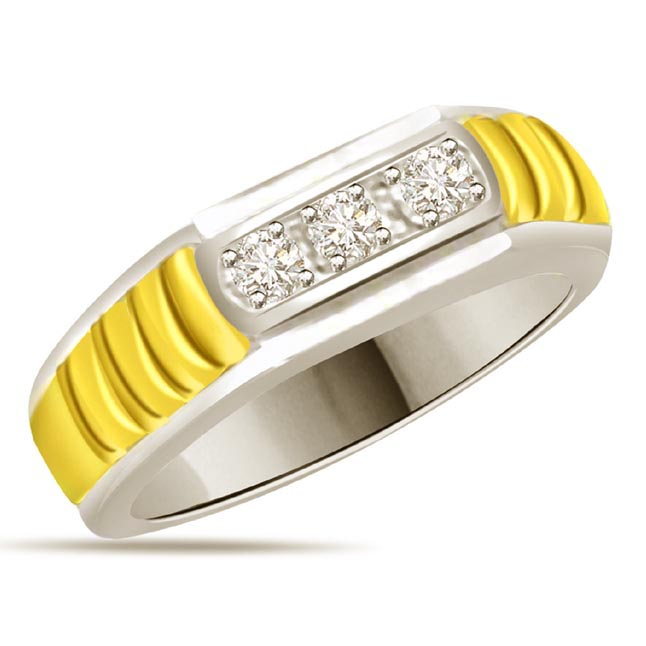 Two -Tone Diamond Gold rings SDR535 -3 Diamond rings