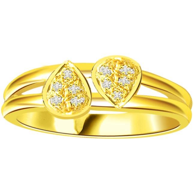 Diamond Heart Shape Gold rings SDR540