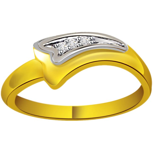 Two -Tone Diamond Gold rings SDR553 -White Yellow Gold rings