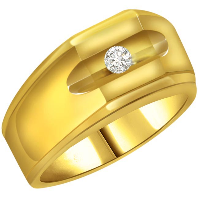 Diamond Solitaire Gold Men's rings SDR564 -Solitaire rings