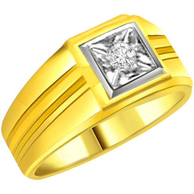 Diamond Gold Men's rings SDR565 -Two Tone Solitaire
