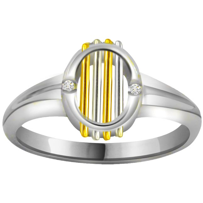 Two -Tone Diamond Gold rings SDR569 -White Yellow Gold rings