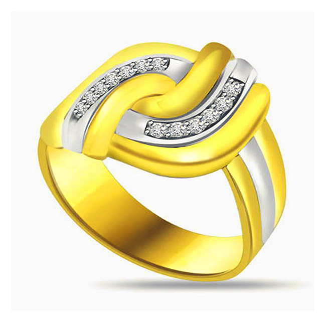 Two -Tone Diamond Gold rings SDR576
