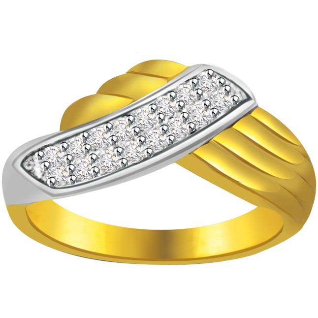 Two -Tone Diamond Gold rings SDR580 -White Yellow Gold rings