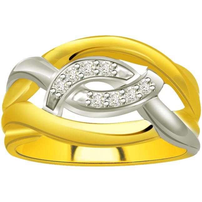 Two -Tone Diamond Gold rings SDR583 -White Yellow Gold rings