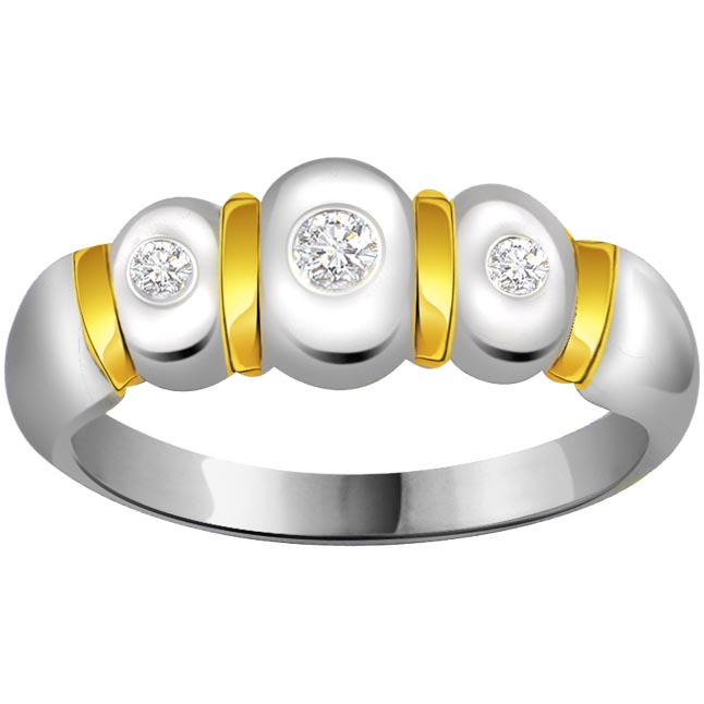 Two -Tone Diamond Gold rings SDR585 -White Yellow Gold rings
