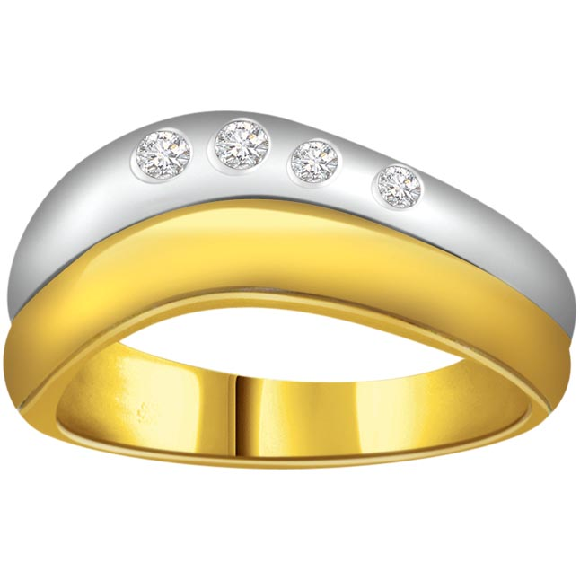 Two -Tone Diamond Gold rings SDR586 -White Yellow Gold rings