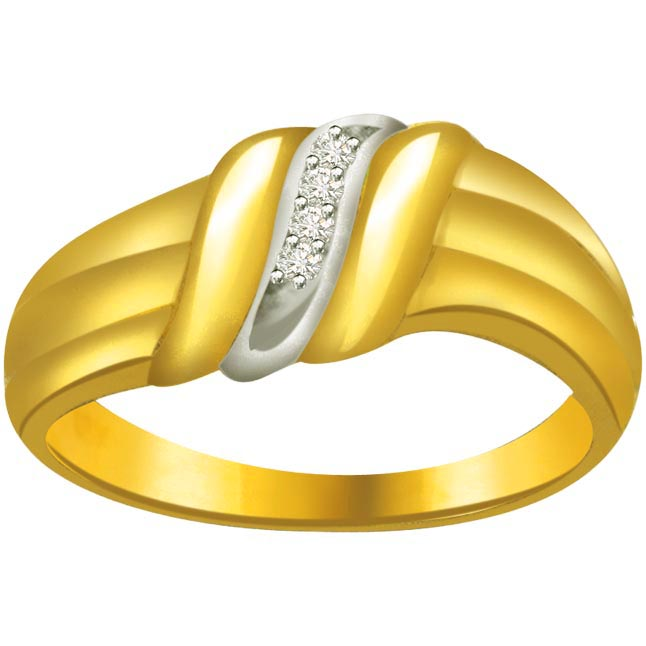 Trendy Diamond Gold rings SDR587 -White Yellow Gold rings