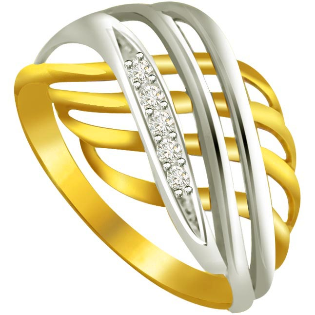 Trendy Diamond Gold rings SDR589 -White Yellow Gold rings