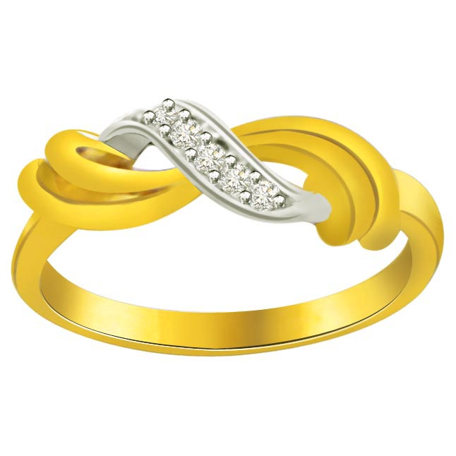 Two -Tone Diamond Gold rings SDR592 -White Yellow Gold rings