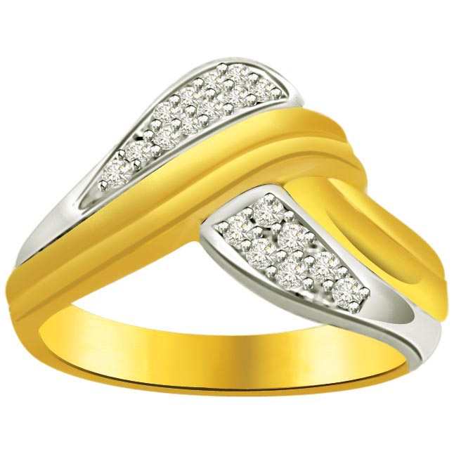 Classic Diamond Gold rings SDR595 -White Yellow Gold rings