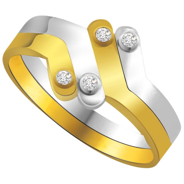 Two -Tone Diamond Gold rings SDR597 -White Yellow Gold rings