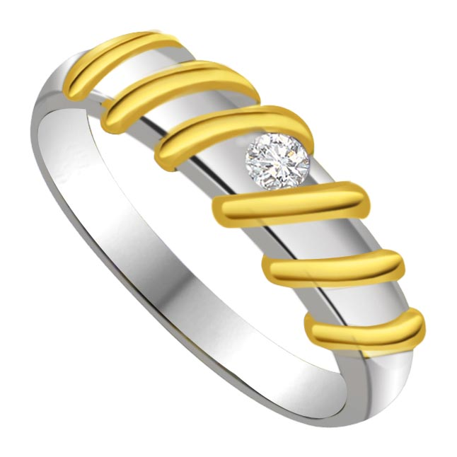 Two -Tone Solitaire Diamond rings SDR600