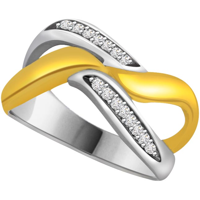 Two -Tone Diamond Gold rings SDR602 -White Yellow Gold rings